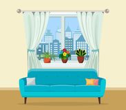 Sofa with pillows and window with plants. Living room interior. Vector illustration in flat style Royalty Free Stock Image