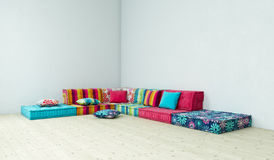Sofa hippie. Room with hippie sofa, 3D Stock Images