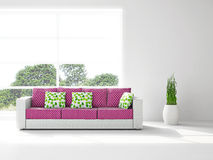 Sofa and plant near the window Royalty Free Stock Images