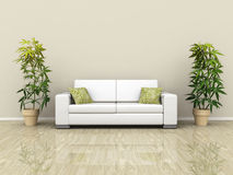 Sofa with plants. An illustration of a white sofa with plants Royalty Free Stock Photo