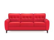 Sofa Realistic Illustration de cuero rojo Fotos de archivo