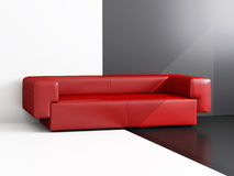 Sofa of red colour Royalty Free Stock Images
