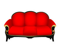 Sofa red with gold carved patterns Royalty Free Stock Image