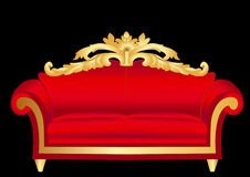 Sofa red with pattern Royalty Free Stock Photos
