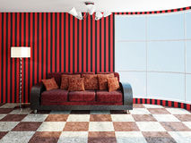 Sofa  with red pillows Royalty Free Stock Photo