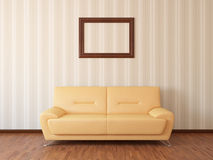 Sofa in rest room. Whit frame Stock Photography