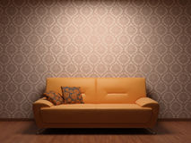 Sofa in rest room. Whit illuminated fabric wallpaper Royalty Free Stock Photos