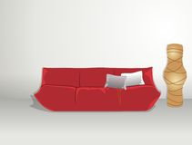 Sofa and rice paper lamp Royalty Free Stock Images