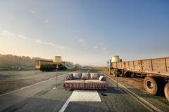 Sofa on the road Royalty Free Stock Images