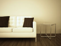 Sofa in room. Modern comfortable interior, 3d image Stock Photos