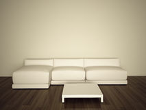 Sofa in room. Modern comfortable interior, 3d image Royalty Free Stock Photos
