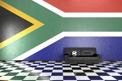 Sofa in Room with South Africa Flag on Background Stock Photography