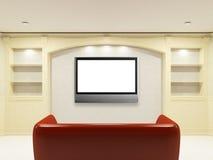 Sofa rouge avec l'affichage à cristaux liquides TV sur le mur Photos stock