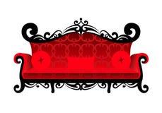 sofa rouge classique sur le fond blanc Images libres de droits