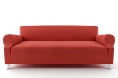 Sofa rouge d'isolement sur le fond blanc Photos libres de droits