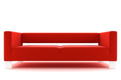 Sofa rouge d'isolement sur le fond blanc Images stock