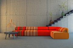 Sofa rouge et orange illustration de vecteur
