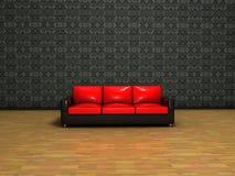 sofa rouge intérieur de décoration classique Photographie stock