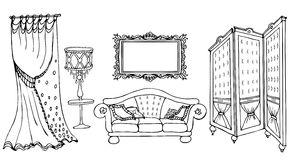 Sofa screen black. Furniture set sketch vector classic style with a sofa, screen, frame, lamp and curtain black in white background Stock Image