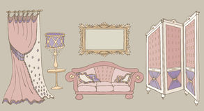 Sofa screen color pink. Furniture set sketch vector classic style with a sofa, screen, frame, lamp and curtain, colored pink, ivory, biege Stock Image