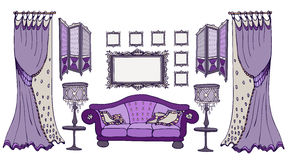Sofa screen color viola frames. Furniture set sketch vector classic style dark purple deep color with a sofa, screen, frames, lamps and curtains Royalty Free Stock Photos