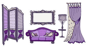 Sofa screen color viola. Furniture set doodle hand painted  vector classic style dark purple deep intense color with a sofa, screen, frames, lamps and curtains Royalty Free Stock Images