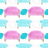 Sofa. Seamless pattern with divan. Hand-drawn Stock Photo
