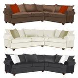 Sofa sectionnel moderne ou contemporain avec les oreillers contrastants Image stock