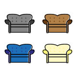 Sofa2. A set of different colored sofas Royalty Free Stock Photos