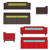 Sofa Set Flat Vector Illustration Image stock