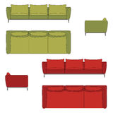 Sofa Set Flat Vector Illustration Stock Foto