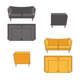 Sofa Set Flat Vector Illustration Grey Yellow Stock Afbeeldingen