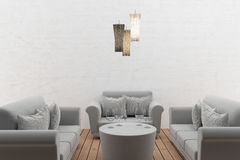 Sofa set interior in the room in 3D rendering Stock Photos