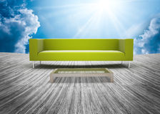 Sofa set and wood plank floor Stock Photos