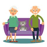 On the sofa sit elderly woman, man and cat. Family portrait of elderly with animal. Married couple of pensioners at home on vacation with a pet. Illustration royalty free illustration