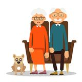 On the sofa sit elderly woman, man and dog. Family portrait of elderly with animal. Married couple of pensioners at home on couch with a pet. Illustration in Stock Image