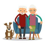 On the sofa sit elderly woman, man and dog. Family portrait of elderly with animal. Married couple of pensioners at home on couch with a pet. Illustration in Royalty Free Stock Images