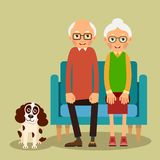 On the sofa sit elderly woman, man and dog. Family portrait of elderly with animal. Married couple of pensioners at home on couch with a pet. Illustration in Royalty Free Stock Photos