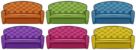 Sofa in six different colors Stock Photo