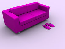 Sofa and slippers Royalty Free Stock Photography