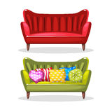 Sofa soft colorful homemade, set 6 Royalty Free Stock Photography