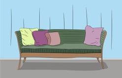 Sofa steht in einem Raum lizenzfreie abbildung