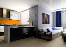 Sofa in studio apartment. Sofa and lunch zone in studio apartment 3d image Royalty Free Stock Photo
