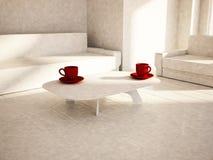 Sofa, table, armchair in the room, 3d Royalty Free Stock Photos