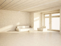 Sofa, table, armchair in the room, 3d Royalty Free Stock Image