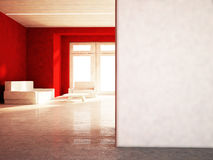 Sofa, table, armchair in the room, 3d Royalty Free Stock Photo