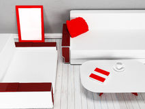 Sofa, table, armchair in the room, 3d Stock Image
