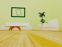 Sofa, table, armchair in the room, 3d. Rendering Stock Photo