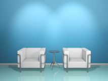 SOFA & TABLE(blue) Royalty Free Stock Photo