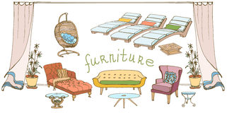Sofa-table color banner. Set - sketch of furniture for the rest  for the house and yard, colored bright banner Stock Photo